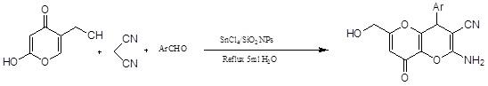 واکنش سه جزئی کوجیک اسید، مالونیتریل و آلدهیدها در حضور تتراکلرید قلع