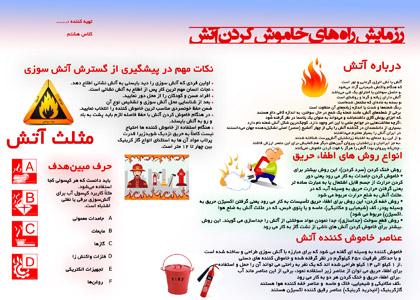رزمایش راه های خاموش کردن آتش در مدرسه